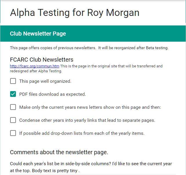 Sample Alpha Test Form: Improvements
